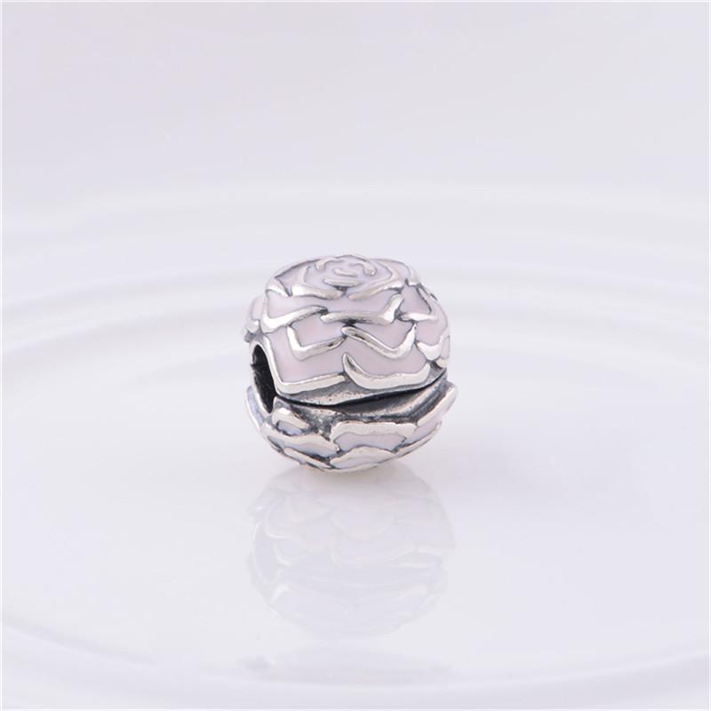 Enamel Rose Silver Clip Charm Beads European Original 100% 925 Sterling Silver Beads Fits Pandora Charm Bracelets & Bangles KT081-N (2)