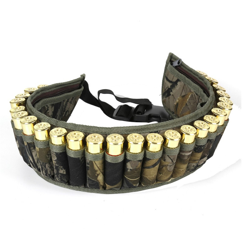 Military 28 Round Tactical Shotgun Shell Buckle Belt Holder Waist 12GA Ammo Pouch Camo Bullet Strap with Inner Zipper Pocket image
