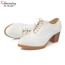Новинка 2016 женские туфли-лодочки на квадратном каблуке Модные на шнуровке женские ботинки удобные Обувь на высоком каблуке качество резины женская повседневная обувь ALF210