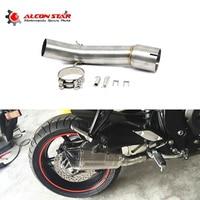 Alconstar FZ1 FZ1N FZ1000 Exhaust Muffler Middle Pipe Escape Motorcycle Motorbike Mid Link Pipe For Yamaha FZ1 FZ1N FZ1000 Race
