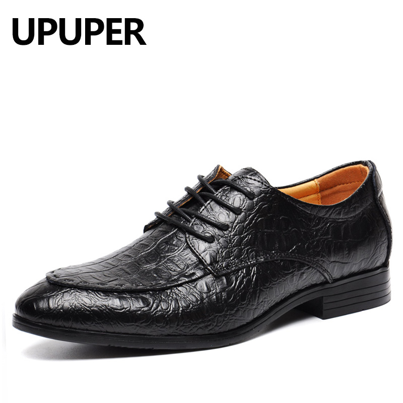 Plus Size 49 50 Genuine Leather Men Business Dress Shoes Breathable Oxfords Luxury Crocodile Pattern Pointed