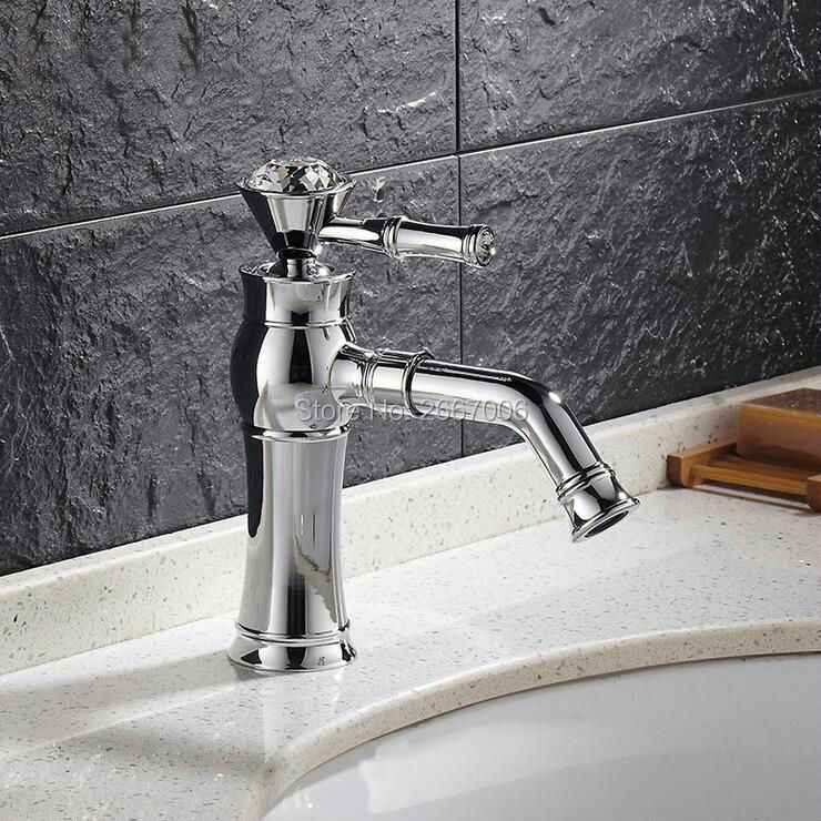 Free shipping Fashion Design Crystal Handle Faucet Hot and Cold basin Tap Brass mixer tap with