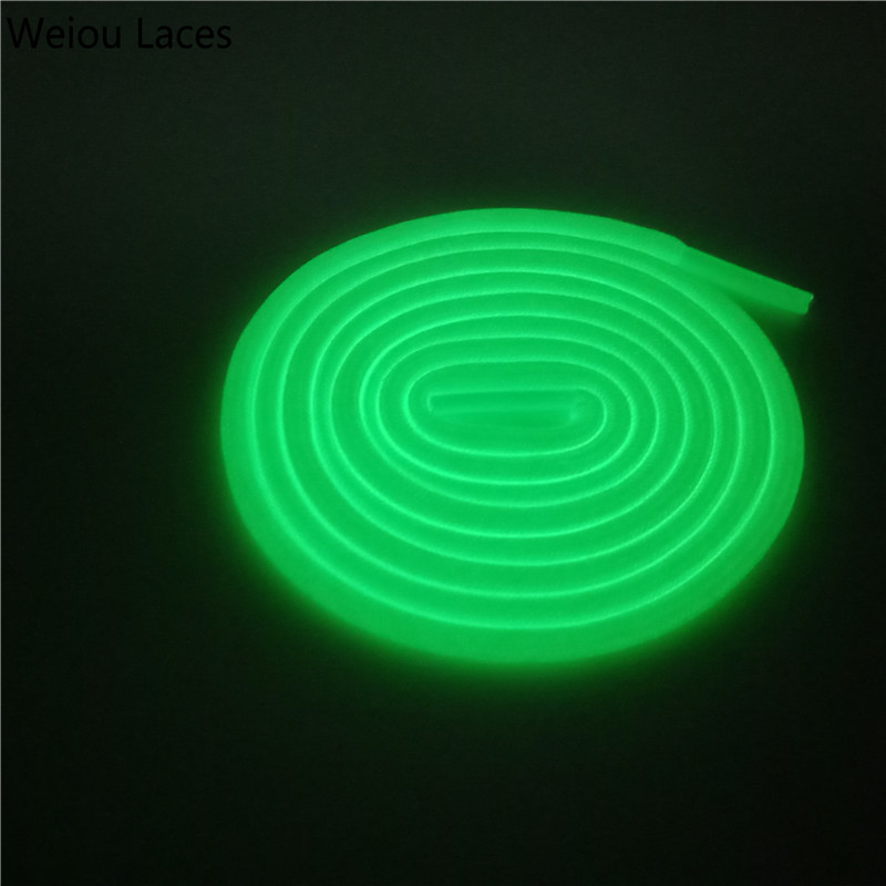 Weiou Neon Glow In The Night Shoelaces Dark Round Sport Shoe Laces Luminous GLOWING Ropelace Fashion Athletic 0.45cm Diameter