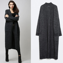Free Shipping 2017 Fashion Women Long mid-calf Sweater Dresses Trench Plus Size S-L Open Stitch Long Sleeve Warm Woolen Sweaters