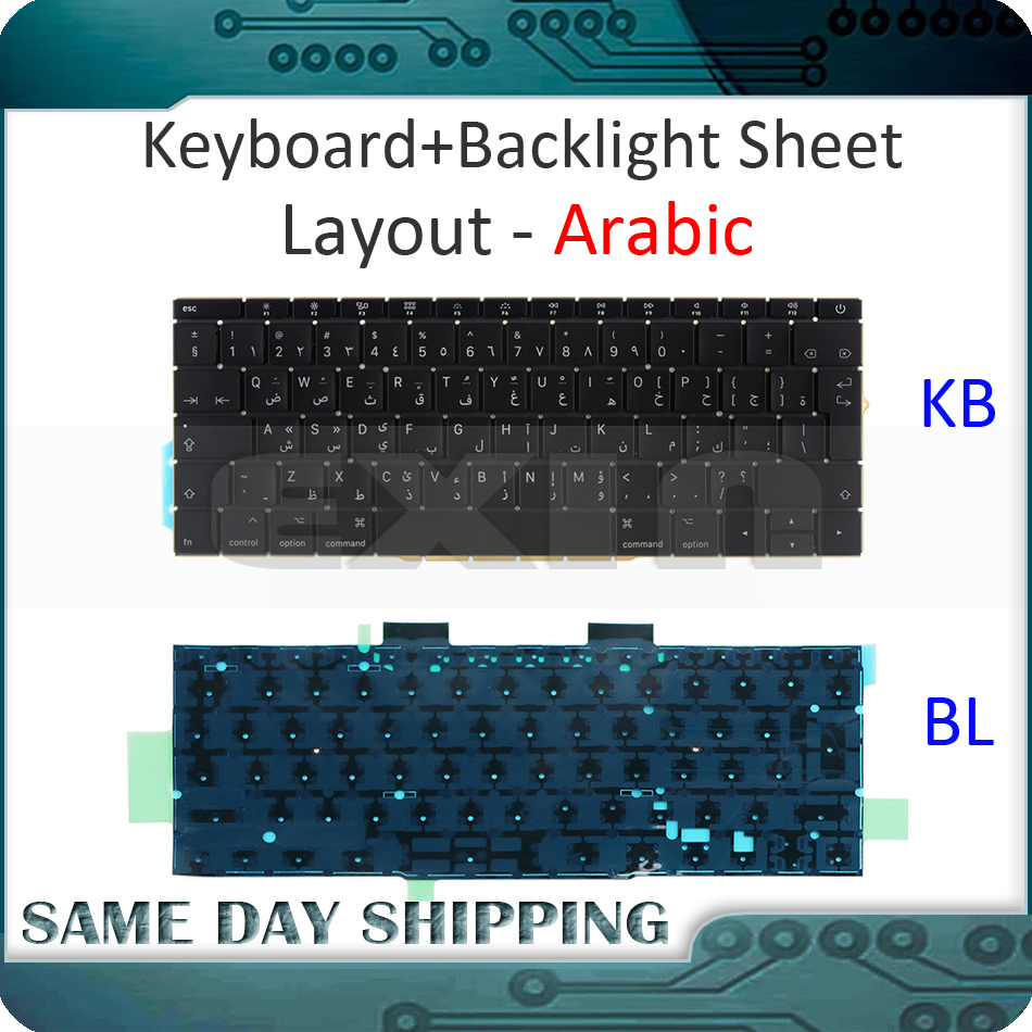 NEW for Macbook Pro Retina 13 A1708 Keyboard Arabic AR Arab Keyboard+Backlight Backlit Replacement 2016 2017 Year image