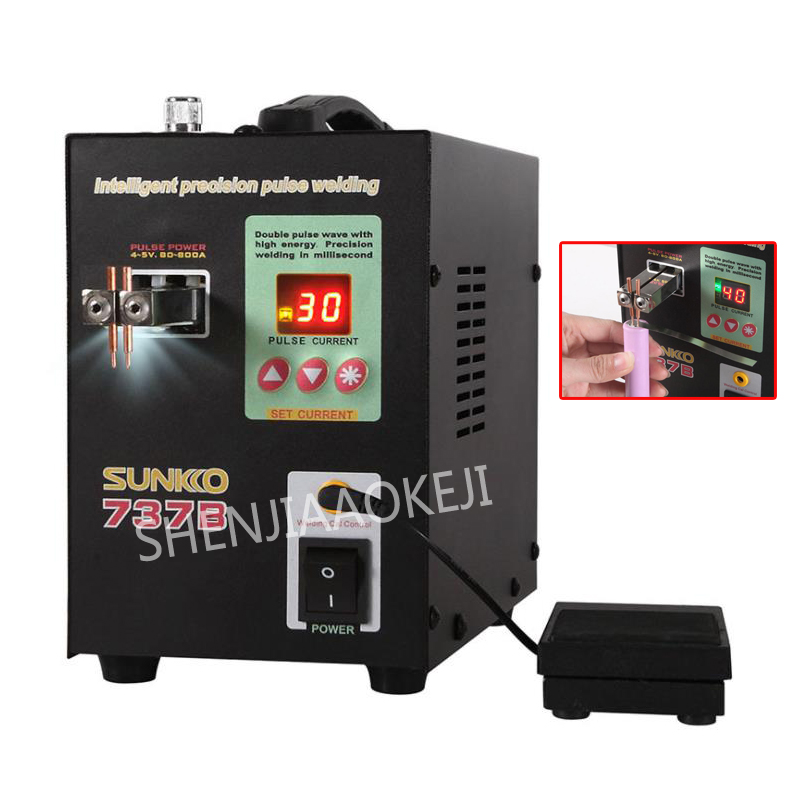 S737B Battery spot welder small pulse welding machine Nickel spot welder Hand-held pedal welding machine AC 110V/220V цена