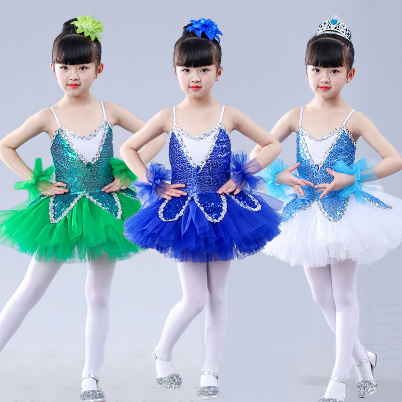 Ballet Dress Tutu Profissional Girl Dance Clothing Sequin Dresses Contemporary Dance Costumes Stage Kids Dancewear DNV10925