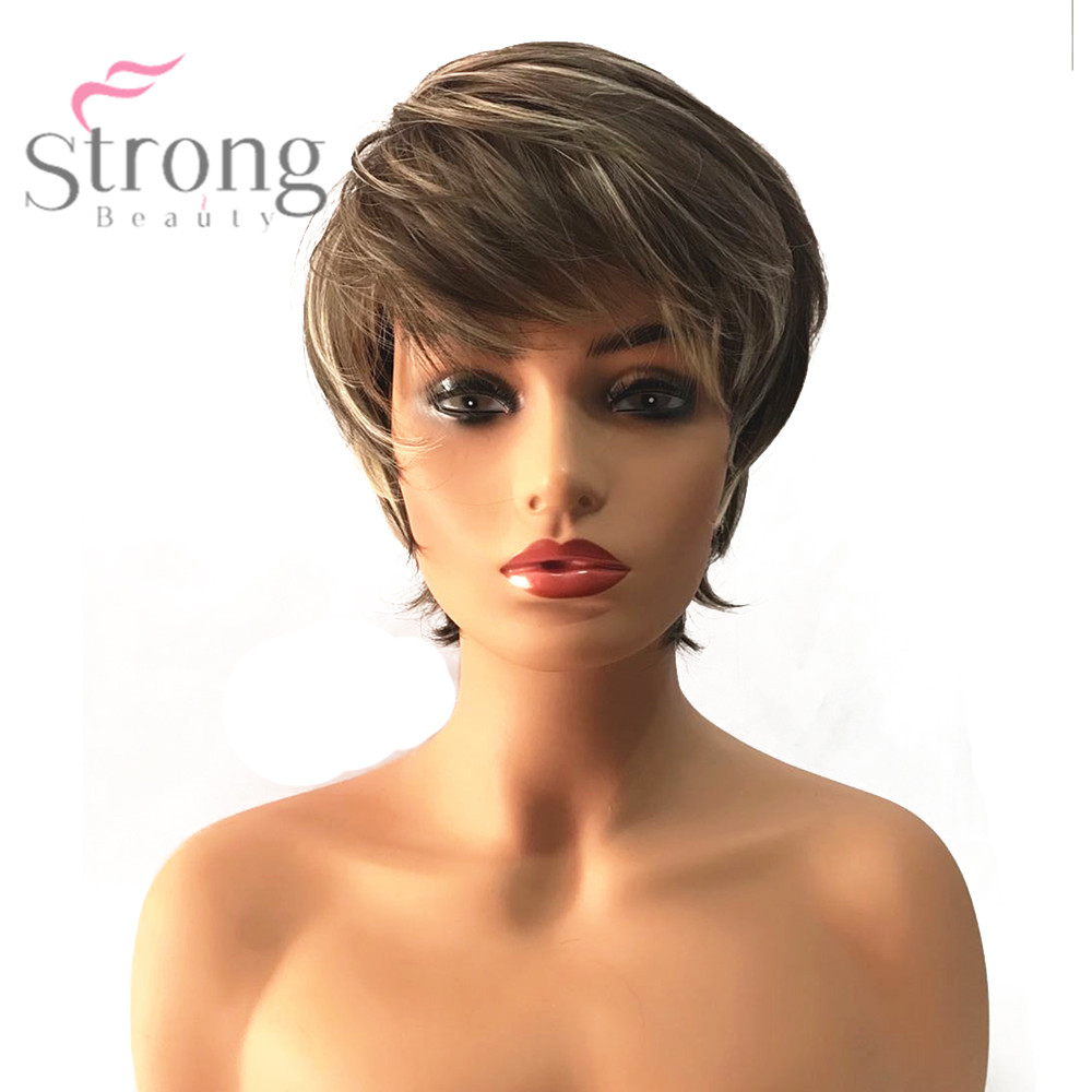 StrongBeauty Womens Synthetic Wig Short Pixie Cut Ash Brown/Bleach Blonde Highlighted/Balayage Hair Natural Wigs