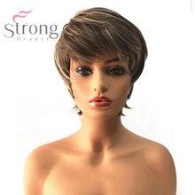 Strongbeauty peruca sintética feminina curto pixie corte cinza marrom/lixívia loira destacado/balayage cabelo natural perucas