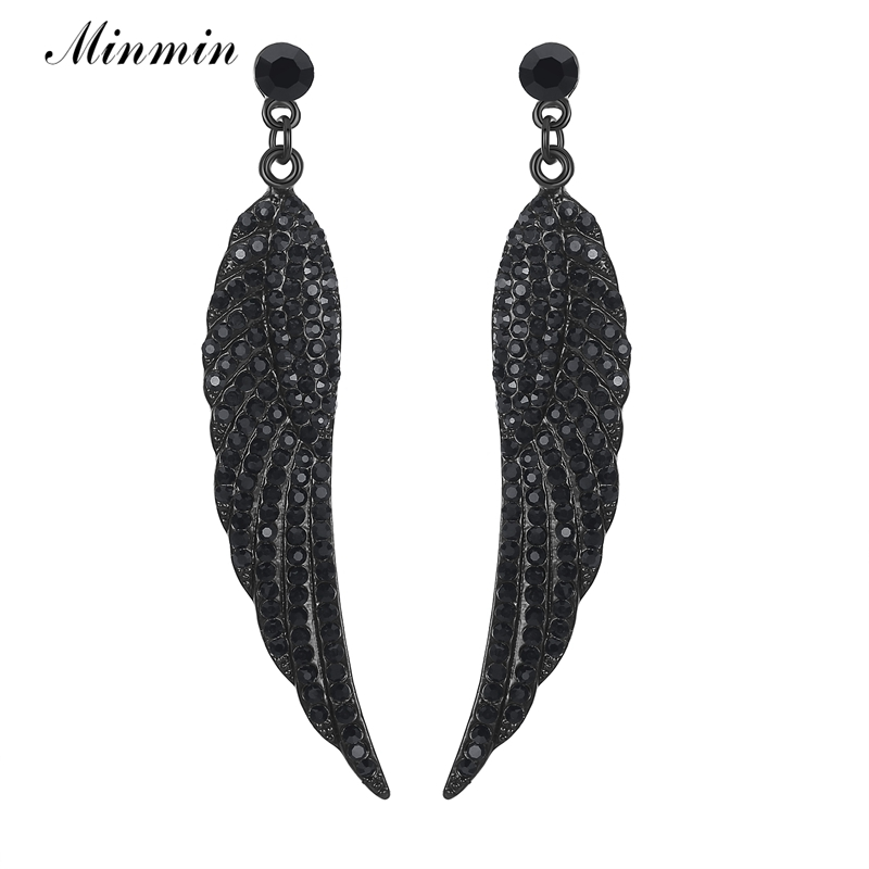 Minmin Angel Wings Black Crystal Long Drop øredobber for kvinner Vintage Hengende Ørepynt 2018 New Fashion Jewelry Christmas MEH942