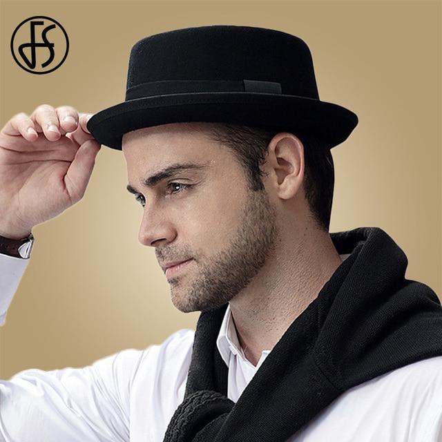 b3e2a062568ed5 FS 2018 Wool Felt Pork Pie Hats Men Wide Brim Black Church Fedora Mans Hat  Jazz Vintage Ribbon Trilby Panama Gangsters Caps