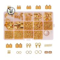 Jewelry Finding Sets, with Iron Jump Rings, Zinc Alloy Lobster Claw Clasps, Alloy End Piece, Iron End