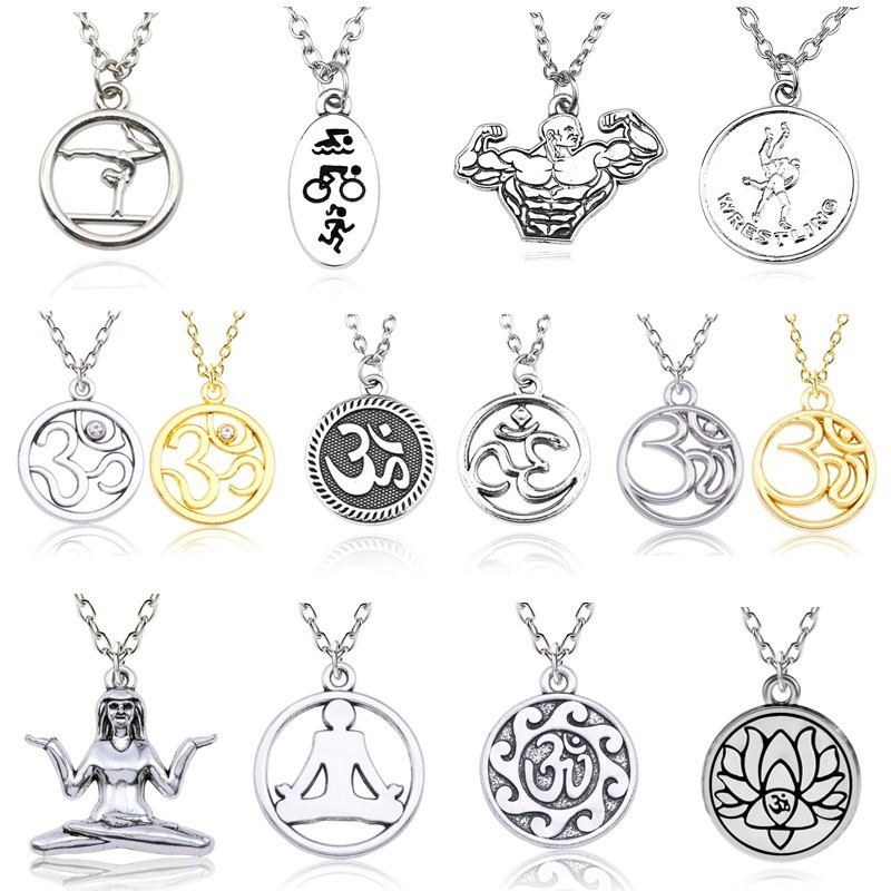 Trendy Inspiring Sport Jewelry Muscular Men Triathlon Gymnast Girl Yoga OM Pendant Necklaces Punk Round Unisex Necklace Collares