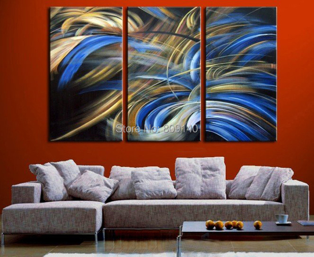 contemporary abstract oil painting blue yellow white black artwork handmade modern home office hotel decoration wall - Black Hotel Decoration