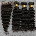 8A cabelo Virgem Onda Profunda Brasileira Hair100 % Cabelo Humano Brasileiro Tecer Onda Profunda Brasileira Do Cabelo 3 Pacote Com Fecho de Rendas Navio livre