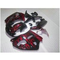 Обтекатель комплект, пригодный для Suzuki srad GSXR 600 GSXR 750 1996 2000 Красный Пламя в черные Обтекатели 96 97 98 99 00 пластиковых деталей