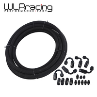 WLR RACING AN6 Black Nylon Braided Racing Hose Fuel Oil Line + Fitting Hose End Adaptor KIT WLR7312+SL10AN6 BK