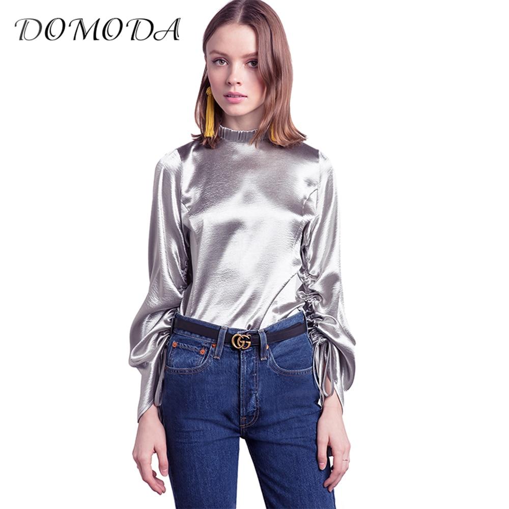 Domoda apparel 2017 silver drawstring loose blouse shirt for Silver metallic shirt women s