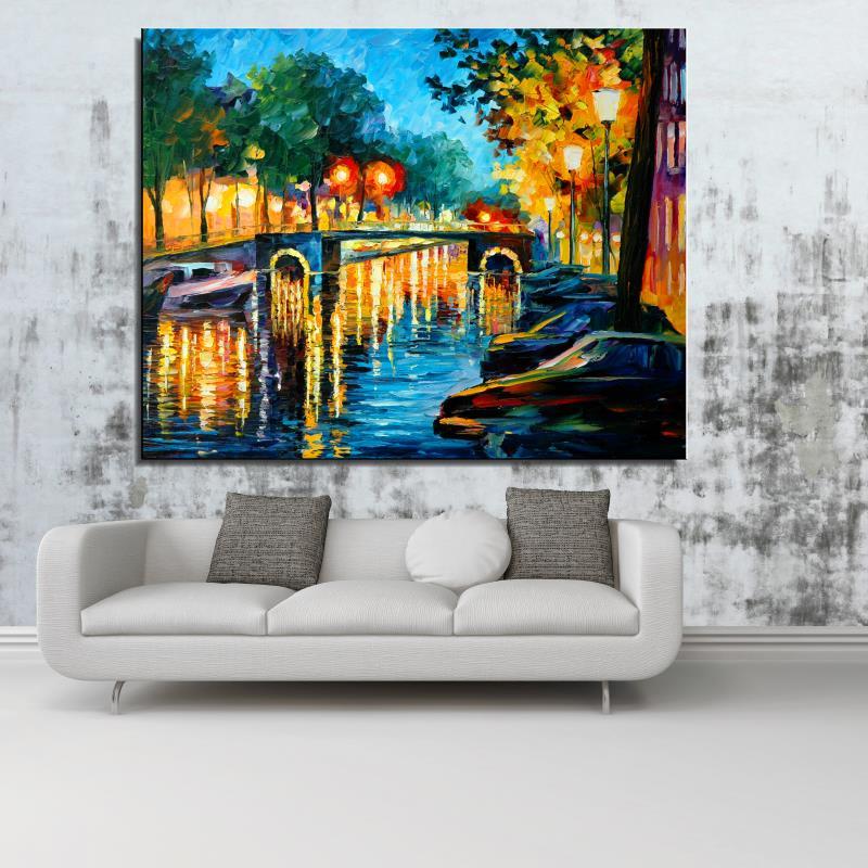 Bridge river Street street lamp bench Landscape Europe