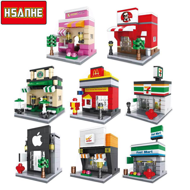 HSANHE Brick Mini Building Blocks Architecture Kids Figure toys Educational Compatible With Toys for Children Christmas loz building blocks educational toys kids merlion park statue singapore fountain mini street view architecture toys brick 1020