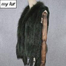 Женский жилет из натурального кроличьего меха, Трикотажный жилет с кисточками и воротником из натурального кроличьего меха енота для вечеринки 2020