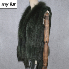 2020 Hot Sale Party Women Real Rabbit Fur Vest Knitted Tassels Real Genuine Rabbit Fur Gilet Real Raccoon Fur Collar Waistcoat