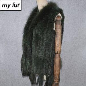 Image 1 - 2020 Hot sprzedaż Party kobiety prawdziwe futro z królika kamizelka dzianiny frędzle prawdziwe prawdziwe futro z królika kamizelka prawdziwy kołnierz z futra szopa kamizelka