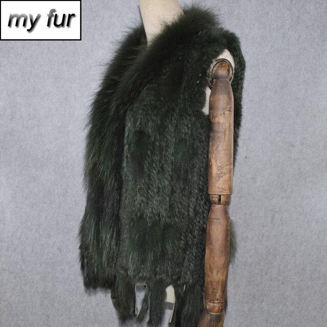 سترة نسائية للحفلات من فرو الأرانب الحقيقي موضة 2020 مُزينة بشراشيب حقيقية مصنوعة من فرو الأرانب الأصلي صدرية ياقة من الفرو الراكون الحقيقي