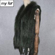 Gilet en vraie fourrure de lapin et de raton laveur pour femmes, col de fête, collection 2020 et offre spéciale