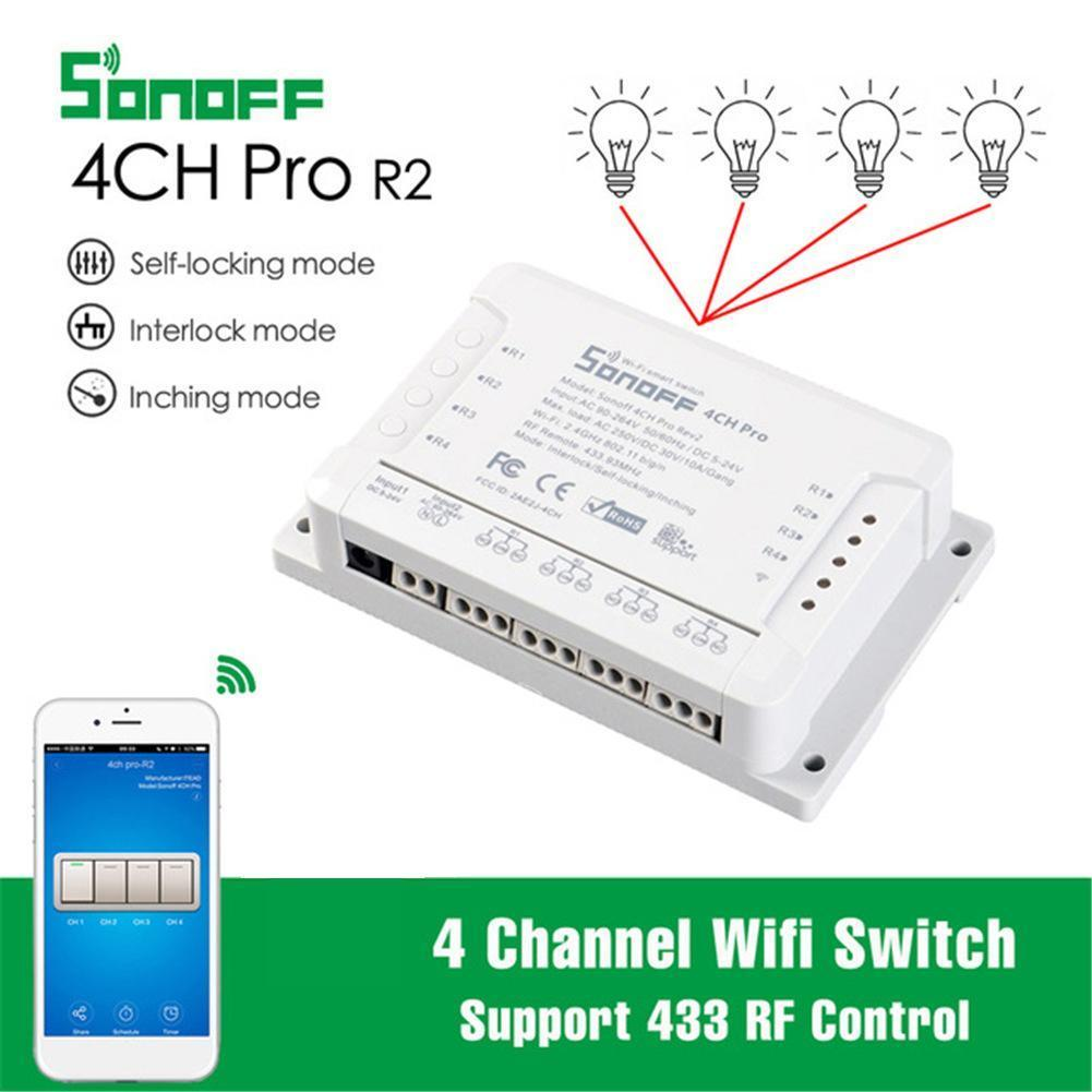 Sonoff 4CH Pro R2 Wifi Switch 4 Channel Inching Self-Locking Interlock Smart WiFi RF Control Switch Work With Alexa Google Home