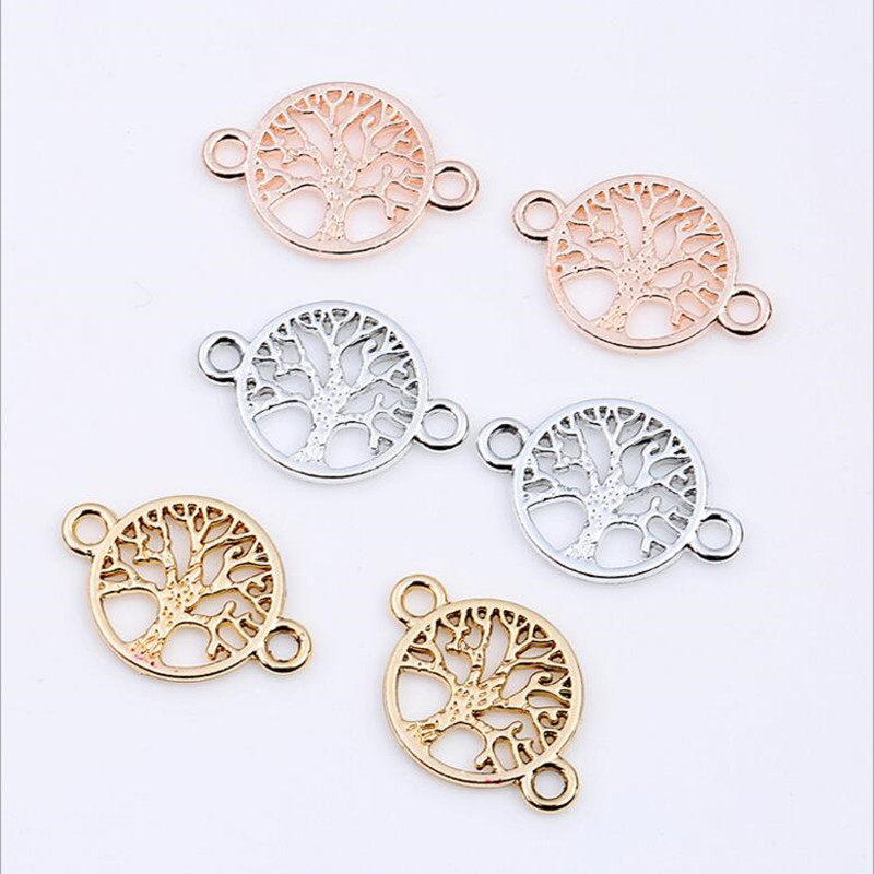 20pcs Silver/Gold Life Tree Charms Bracelet Connector DIY Necklace Charm Bracelet Necklace Jewelry Making Handmade DIY Z799 one day making a bracelet diy handmade book beaded necklace weaving chinese knot braided rope diy handmade bracelet book