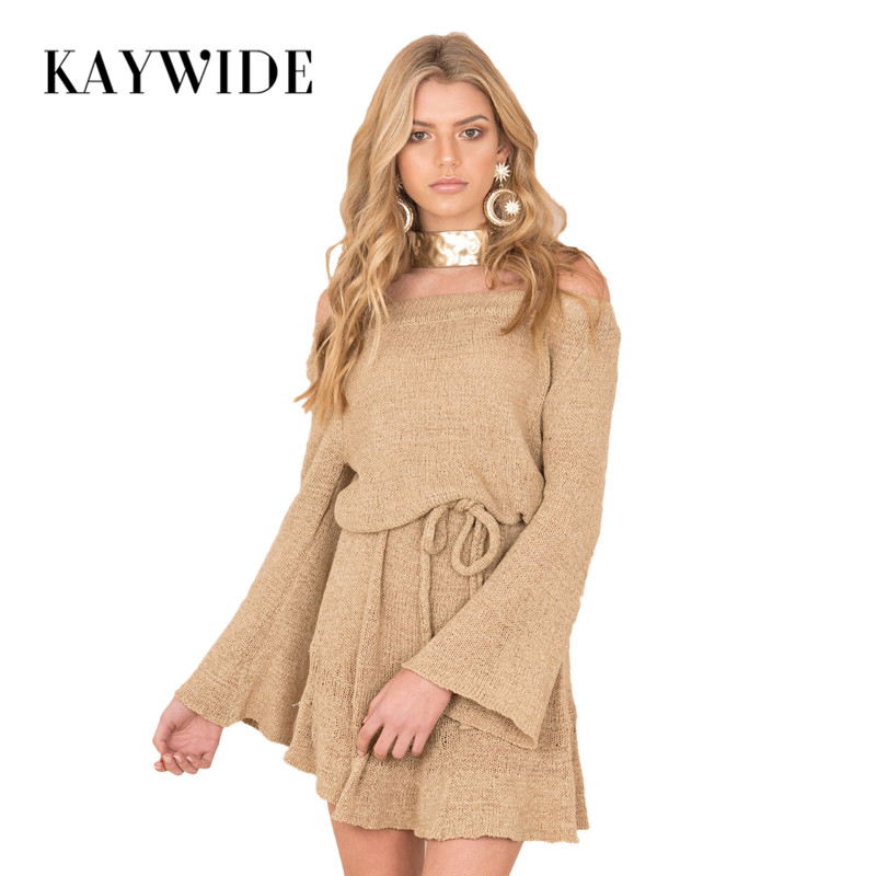 DICLOUD 2017 Autumn New Women Sweater Dress Series Knitted Slash Neck Sashes Sexy Party Dresses For Woman Loose Vestidos A17325