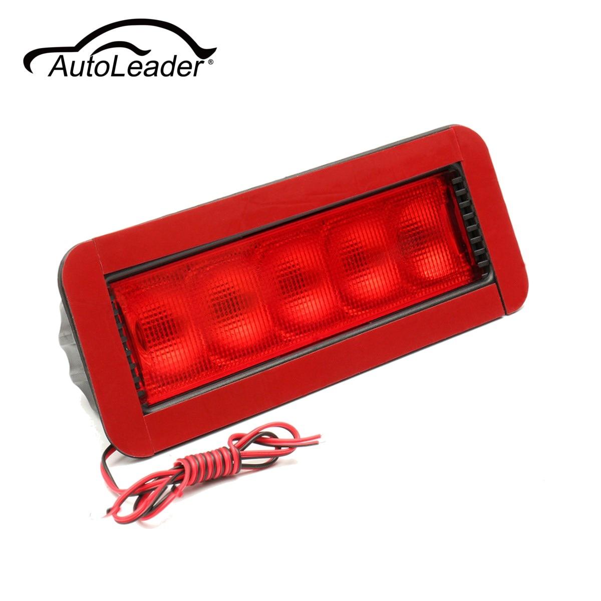 AutoLeader Universal Car Red 5LED 12V Rear High Mount Lever Third 3RD Brake Stop Tail Light Car LED Light 0.5W Plastic