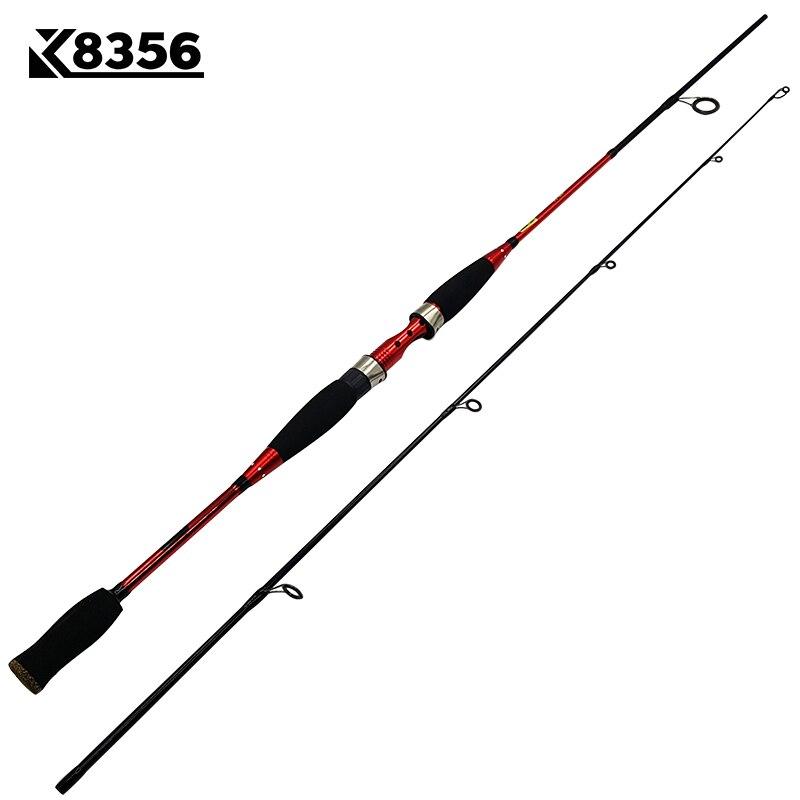 K8356 Hard Ultralight Fishing Rod 2 Section 1.8m 2.1m Carp Fishing Tackle Metal Body Carbon Fiber Spinning Rod Casting Lure Rod