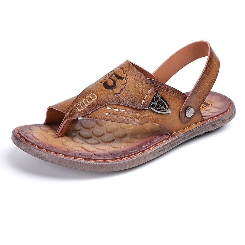 13400a27734 M anxiu Summer Genuine Leather Buckle Strap PU Sole Sandals 2018 Man ...