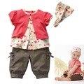 Alta Calidad 0-3 Años 3 Unids Ropa Para Niños Baby Girls Frutas Patrón Top + Pants + Hat Set trajes