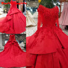 21475 Bridal Dress Red Color Long Sleeves Bateau Gown