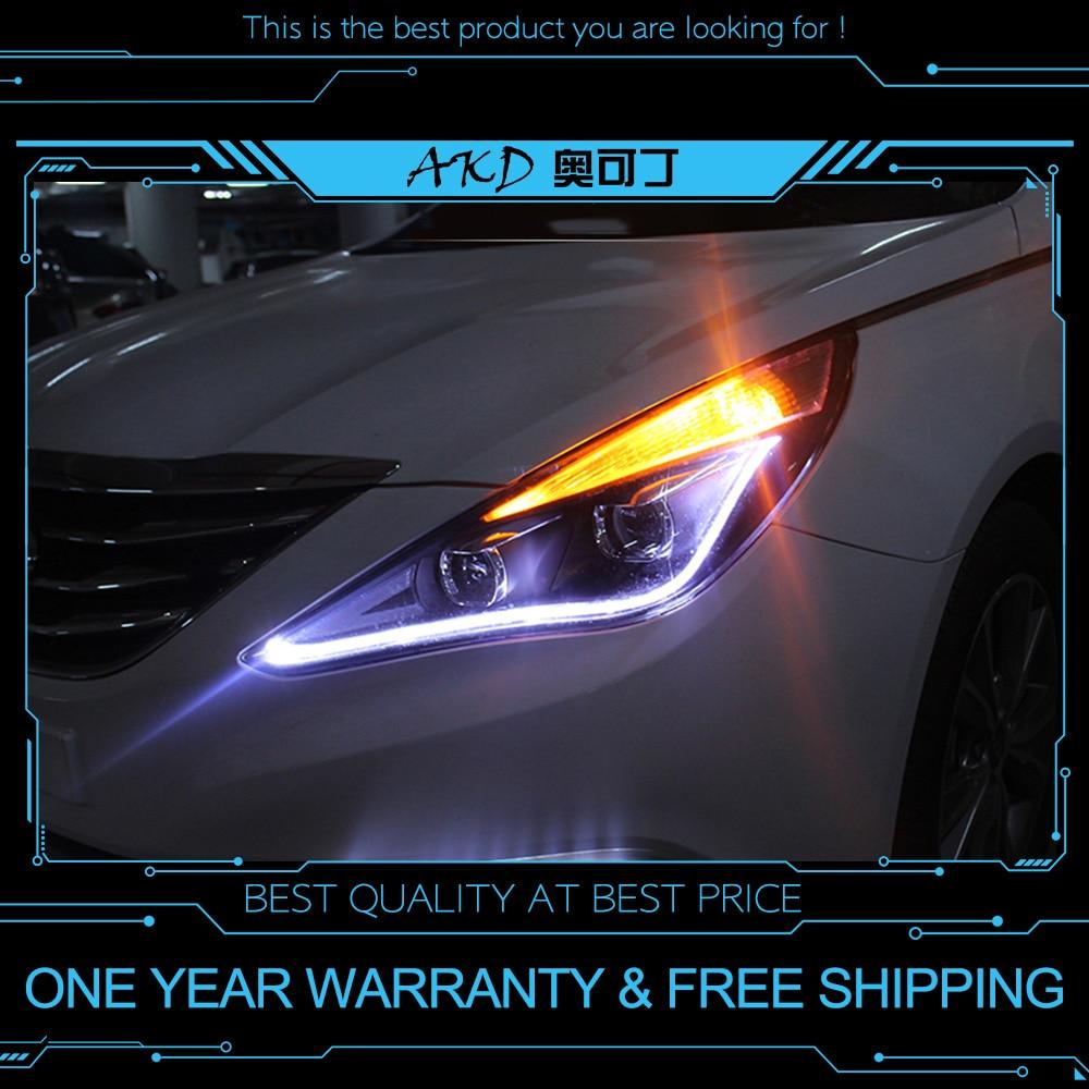 Carros tuning Farol Para Hyundai Sonata Sonata8 8 MK8 AKD 2011-2014 Faróis LED DRL Execução luzes Bi- feixe de Xenon luzes de Nevoeiro