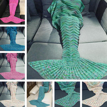 CAMMITEVER Charming Girl Child Mermaid Knitting Air Conditioning Sofa Sleeping Blanket Acrylic Mermaid Soft Queen Blanket