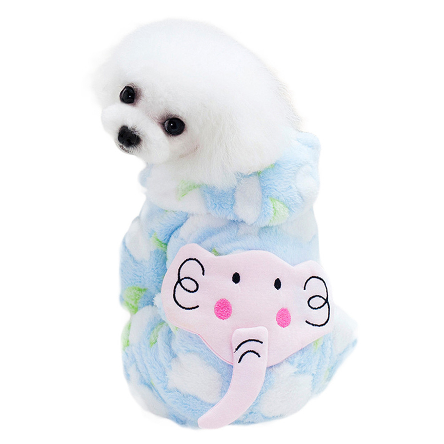 New Quality Coral Velvet Cute Elephant Winter Warm Padded Thickening Coat Dog Costumes Pet Clothes S~XXL Wholesale &918