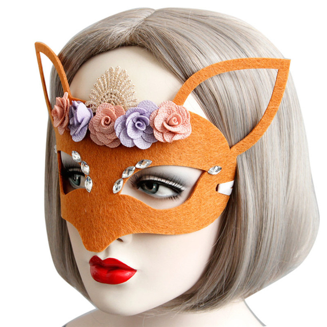 best gift felt cloth mask with flower and crystal for masquerade halloween venetian costumes carnival mask