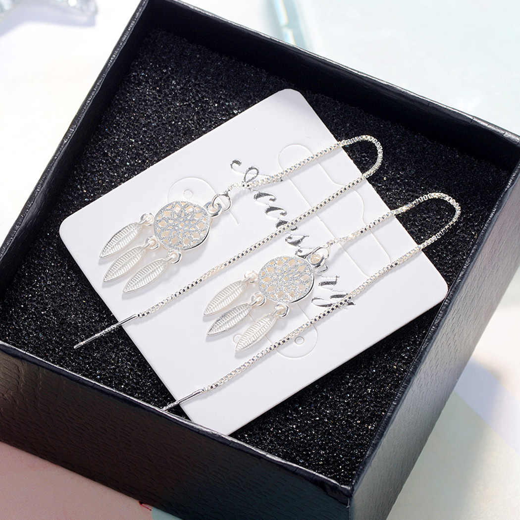 Kinitial New Silver Plated Dream Catcher Drop Earrings for Women Fashion Chain Tassel Dangle Feather Statement Earring Jewelry
