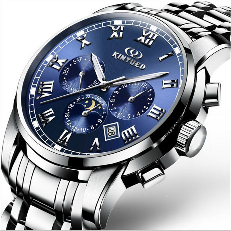 ФОТО Fashion Luxury Brand KINYUED leather Tourbillon Watch Automatic Men Wristwatch Men Mechanical steel Watches relogio masculino