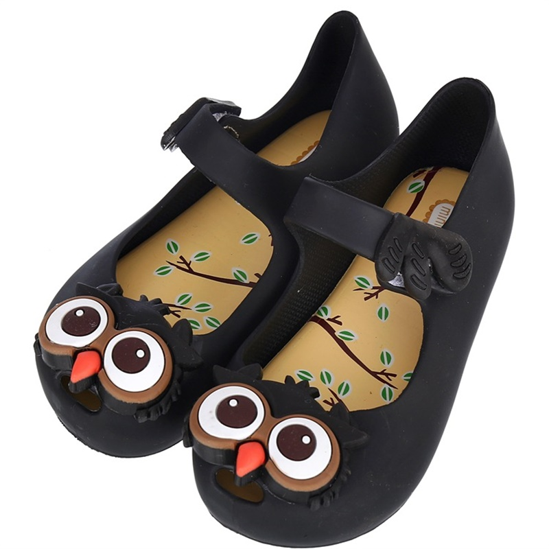 Mini Melissa hot New Summer Owl Style Girls Shoes Soft Ornament boys Sandals Thick Rubber Cute kids Sandals Princess shoes