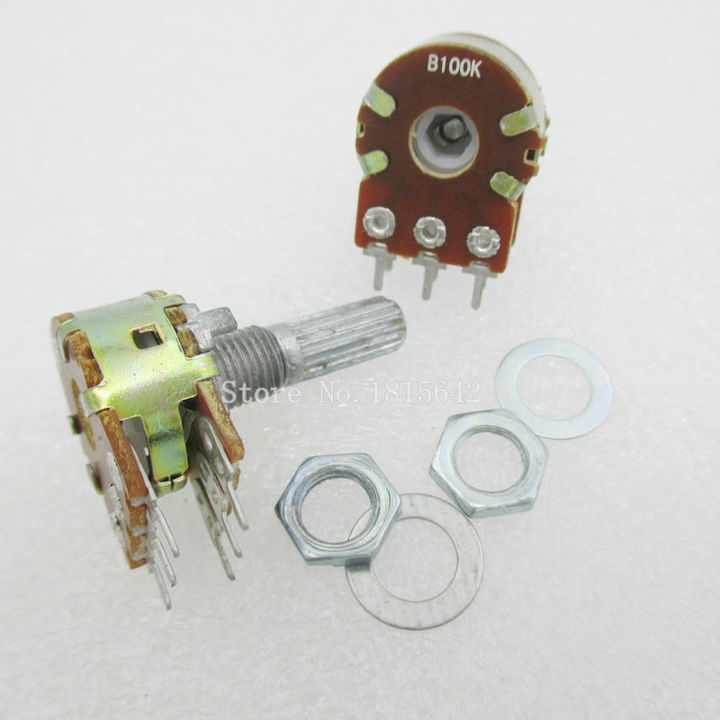 5PCS/LOT B100K 100K OHM <font><b>WH148</b></font> <font><b>6Pin</b></font> Linear Dual Rotary Potentiometer Pots Shaft 20MM With Nuts And Shim image