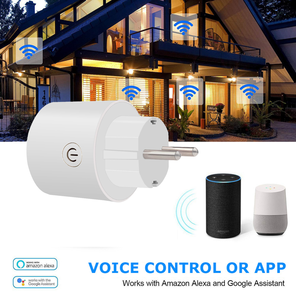 Spetu 16A EU Plug Smart Wifi Plug Works With Google Home Mini Alexa IFTTT Voice Control Smart Socket Outlet With Timing Function