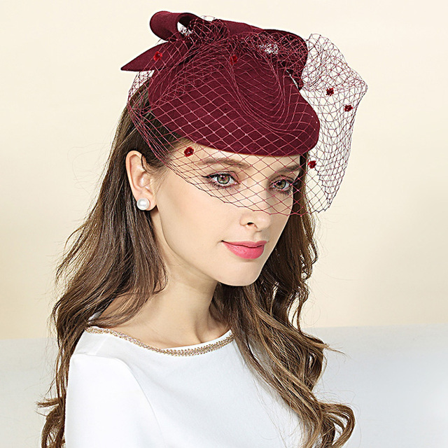 2b0b53e131bad Classic Bowler Beret Hat For WOmen Spring Autumn Pure Wool Pillbox WIne Red  Dot Veil Wedding Church Derby Hat Ladies Fedora Cap