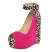 Comfortable Women Wedge High Heels Open Toe Ankle Strap Leopard Platform Plus Size Women Wedding Party Korean Women Shoes
