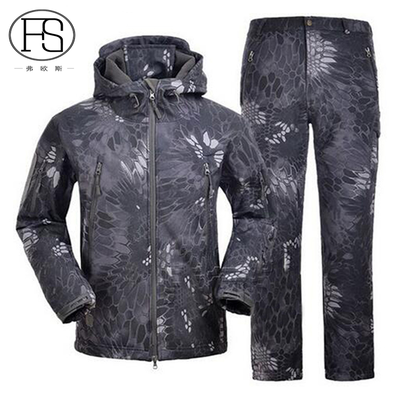 ФОТО Military Tactical Men Outdoor Waterproof Camouflage Suits TAD Sharkskin Jacket And Pants Men Hunting Clothes Toread Outdoor Suit