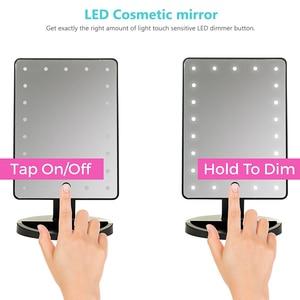 Image 3 - LED Touchscreen Make Up Spiegel Professionelle Eitelkeit Spiegel Mit 24 Led leuchten Gesundheit Schönheit Einstellbare LED Spiegel 180 Rotierenden